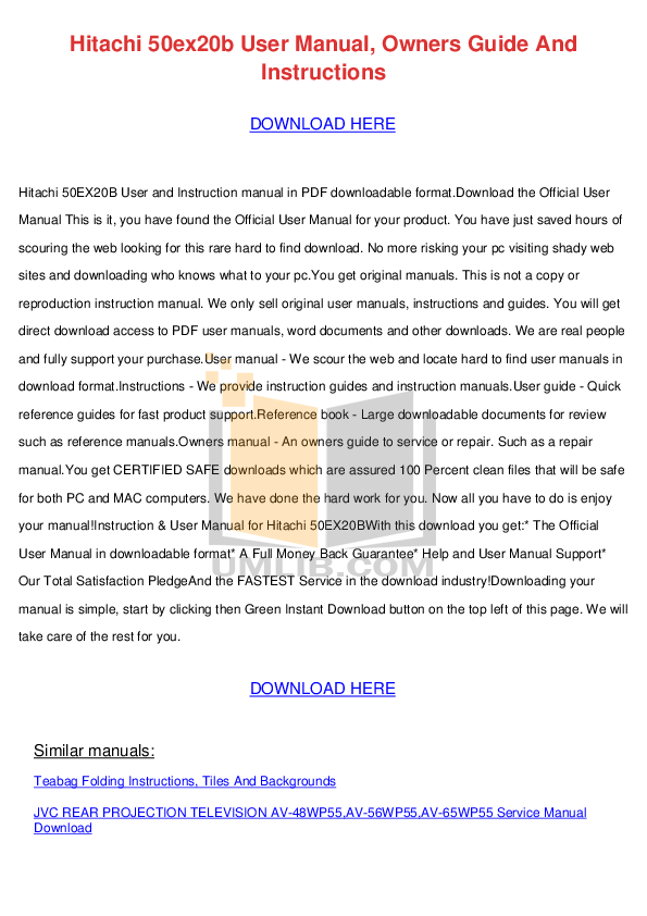 download free pdf for hitachi 50ex20b tv manual rh umlib com Clip Art User Guide User Webcast