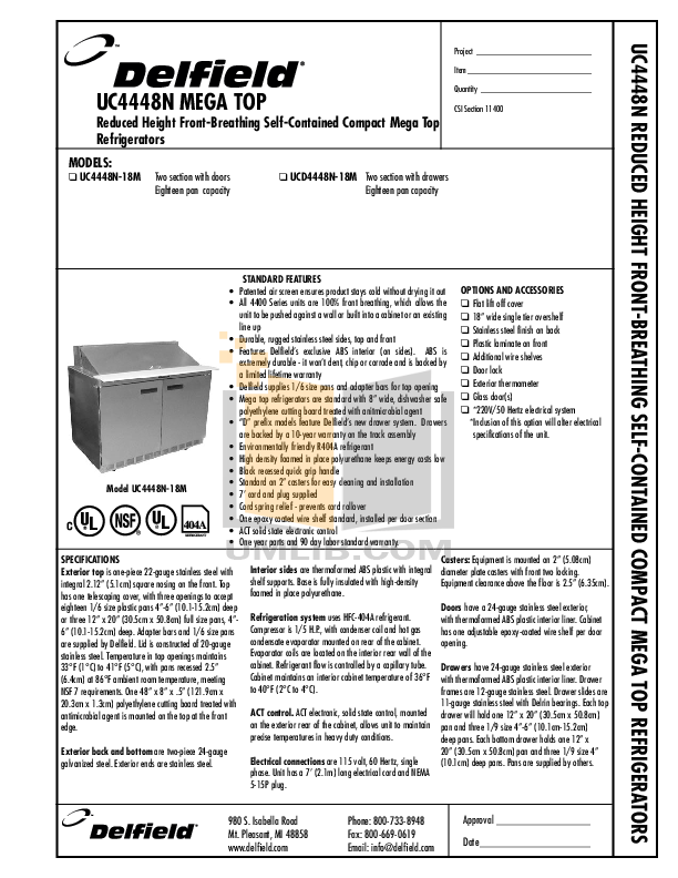 pdf for Delfield Refrigerator UC4448N manual