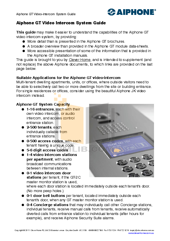 pdf for Aiphone Other IB-NA Intercoms manual