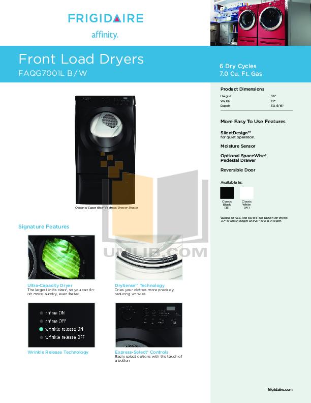 pdf for Frigidaire Dryer Affinity FAQG7001L manual