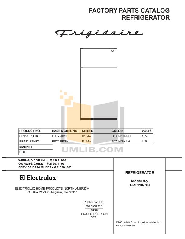 pdf for Frigidaire Refrigerator FRT22IRSHK5 manual