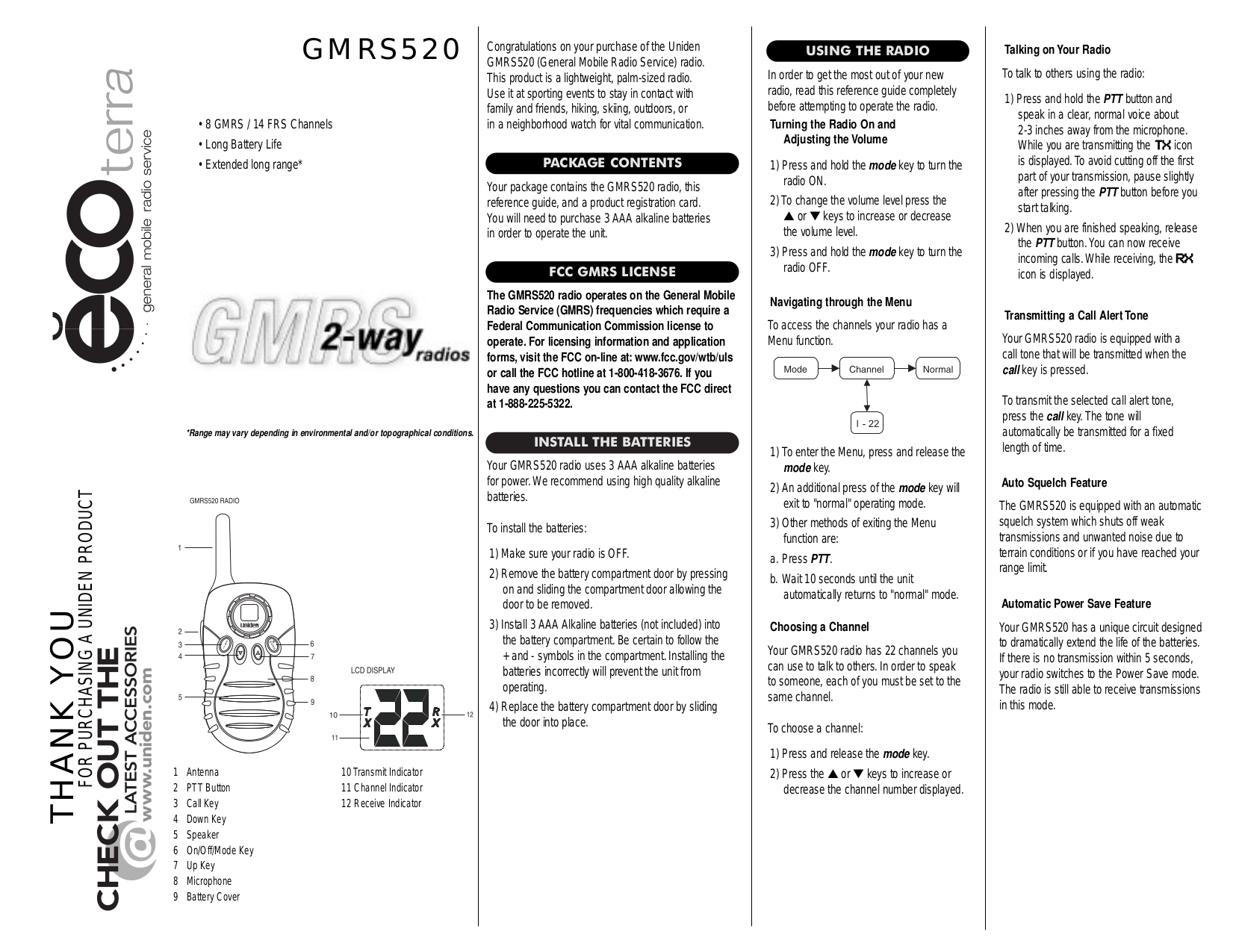 pdf for Uniden 2-way Radio GMRS520 manual