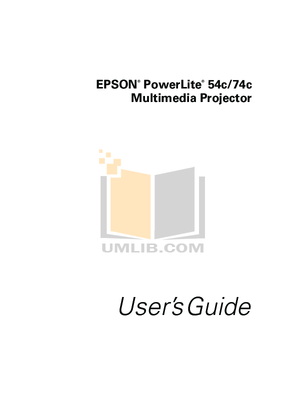 pdf for Epson Projector PowerLite 54c manual