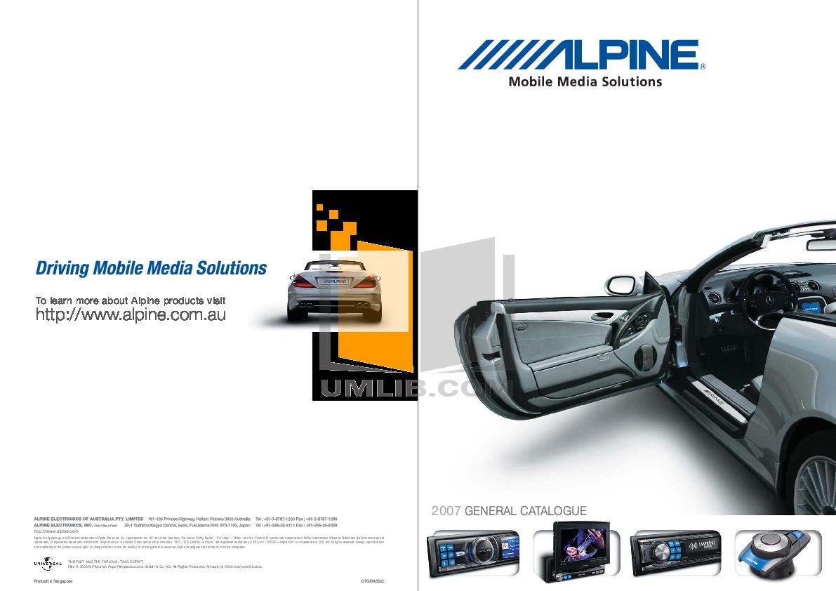 pdf for Alpine Car Video TMX-R705 manual