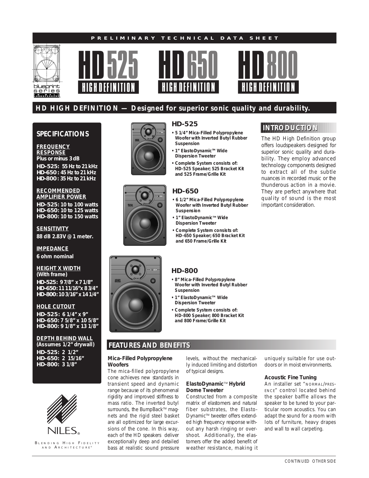 pdf for Niles Speaker HD800 manual