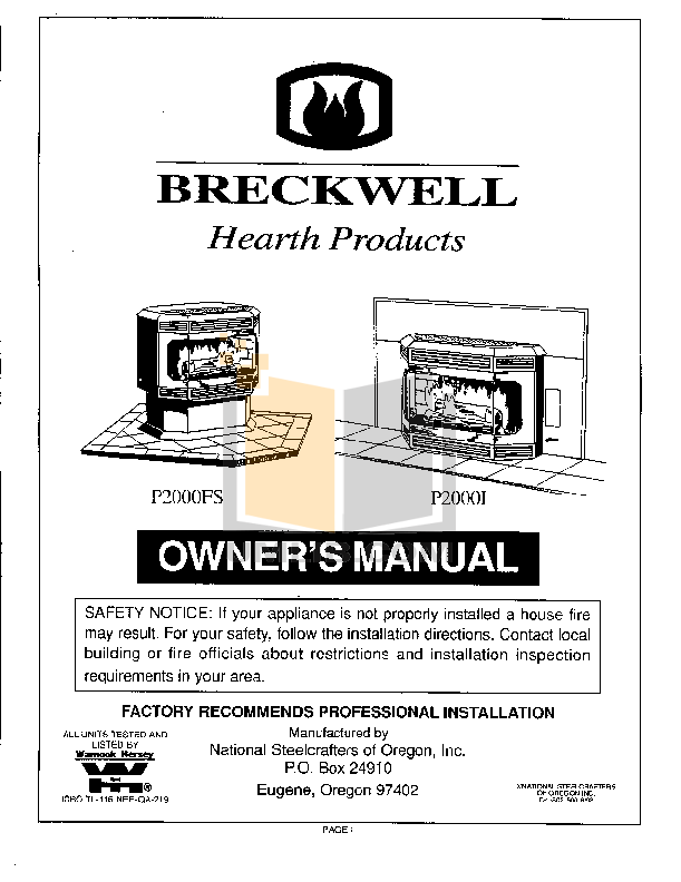 pdf for Breckwell Heating Cooling and Air P2000I manual