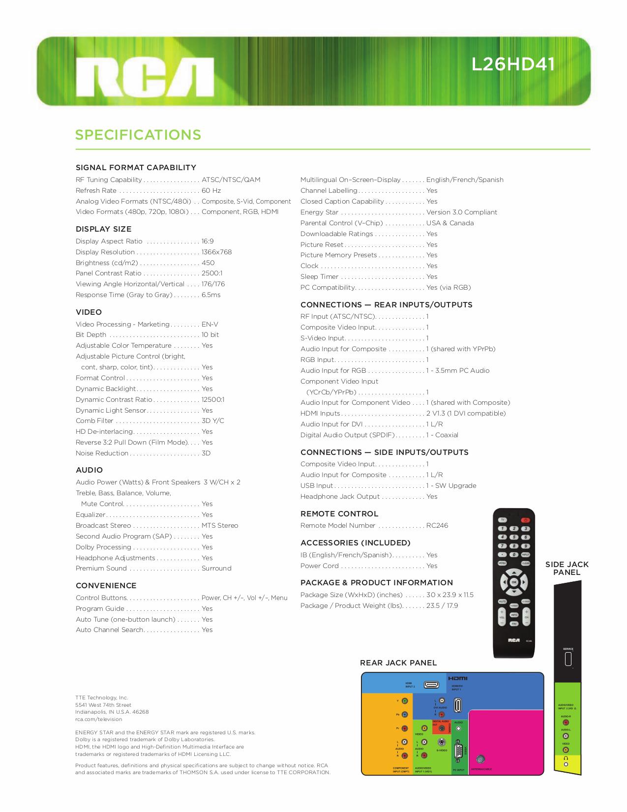 PDF manual for RCA TV L26HD41