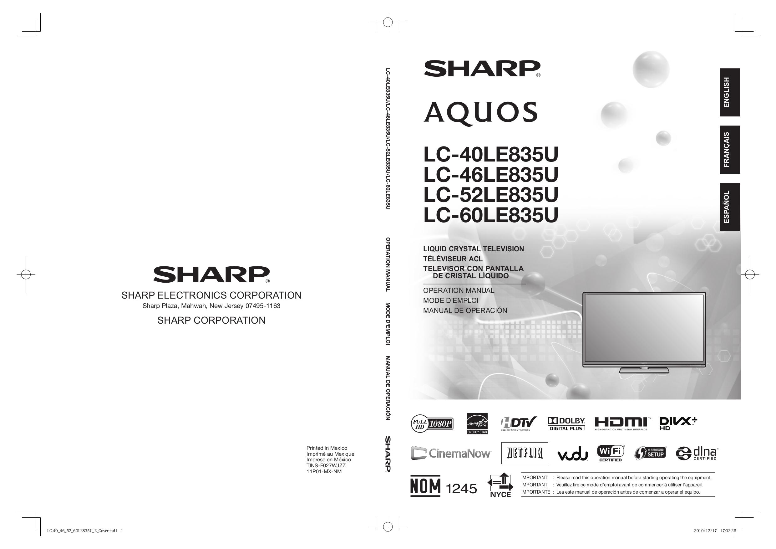 download free pdf for sharp aquos lc 60le835u tv manual rh umlib com Microwave Oven Sharp R 308J sharp aquos lc-60le835u manual