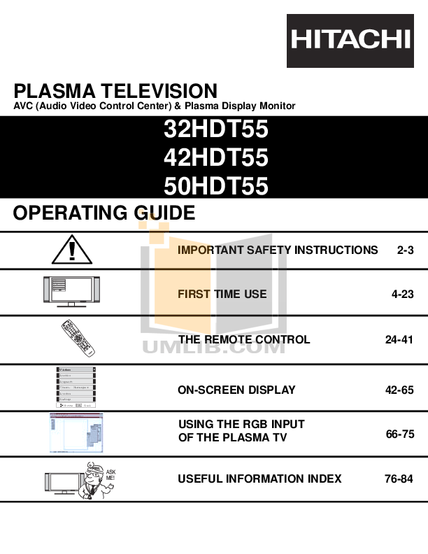 pdf for Hitachi TV 42HDT55 manual