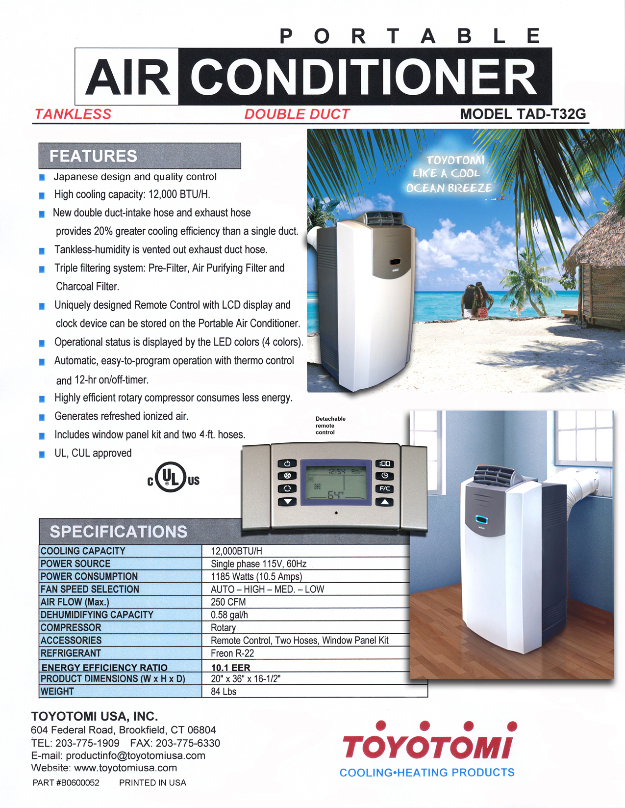Download Free Pdf For Toyotomi Tad T32g Air Conditioner Manual
