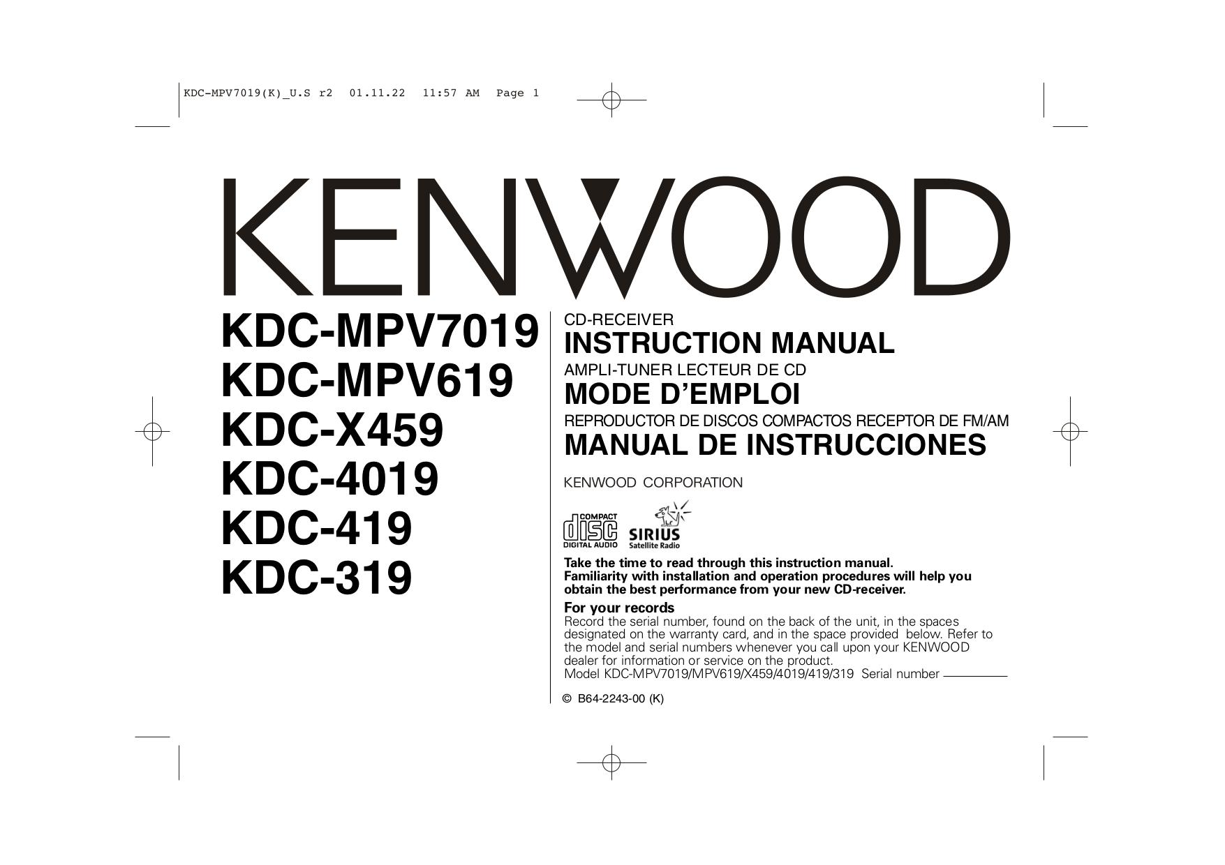 Download Free Pdf For Kenwood Kdc 319 Car Receiver Manual Model Wiring Diagram 3011