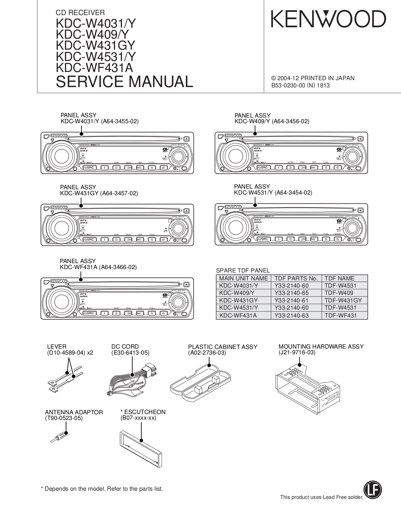 KDC W4031_W409_W431GY_W4531_WF431A.pdf 0 download free pdf for kenwood kdc 319 car receiver manual kenwood kdc-mp225 wiring diagram at bayanpartner.co