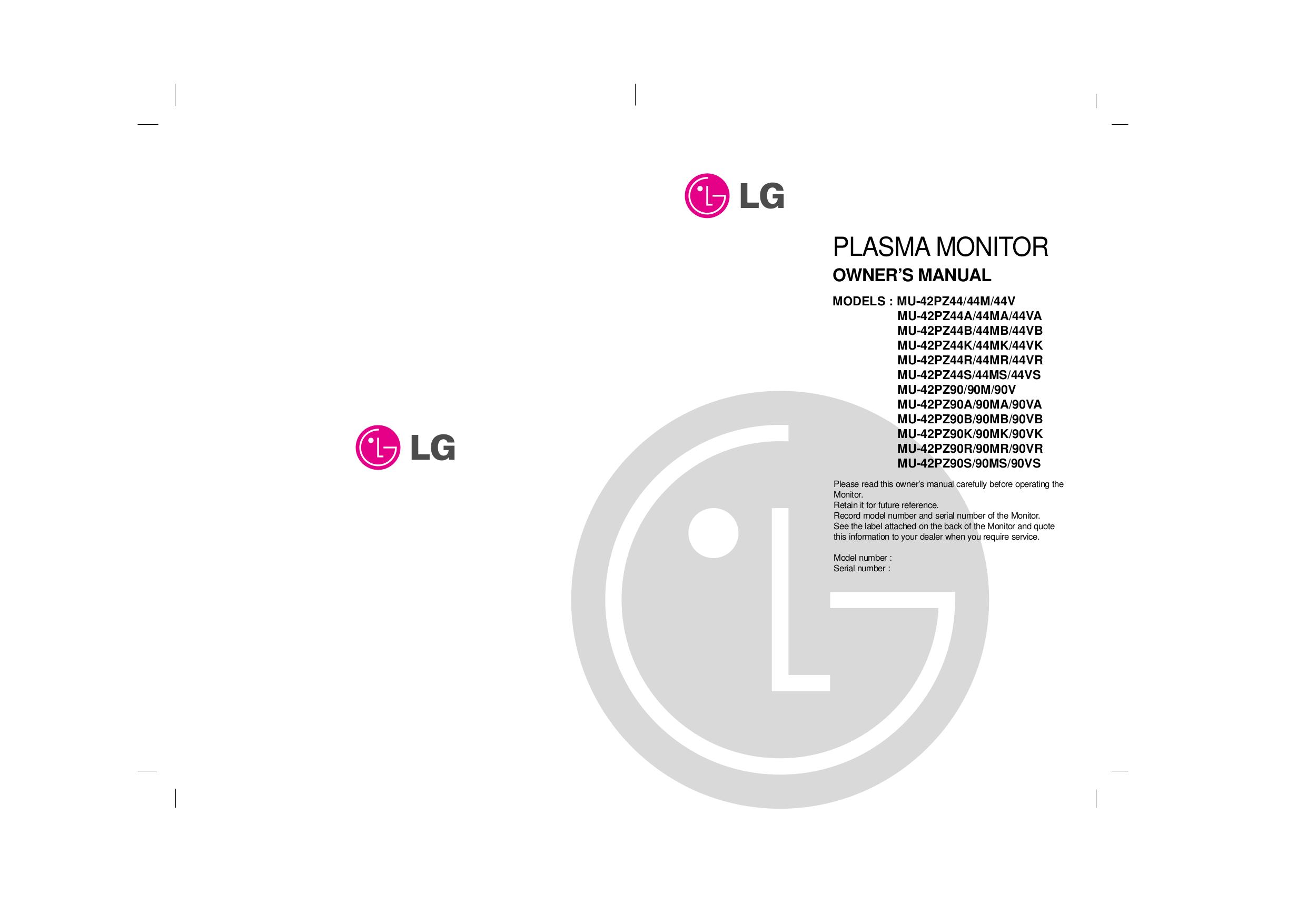 pdf for LG Monitor MU-42PZ90A manual