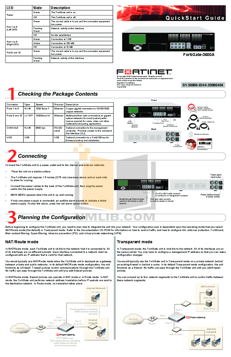 Download free pdf for Fortinet FortiGate FortiGate-3600A