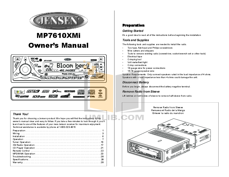 pdf for Audiovox Car Receiver MP5610 manual