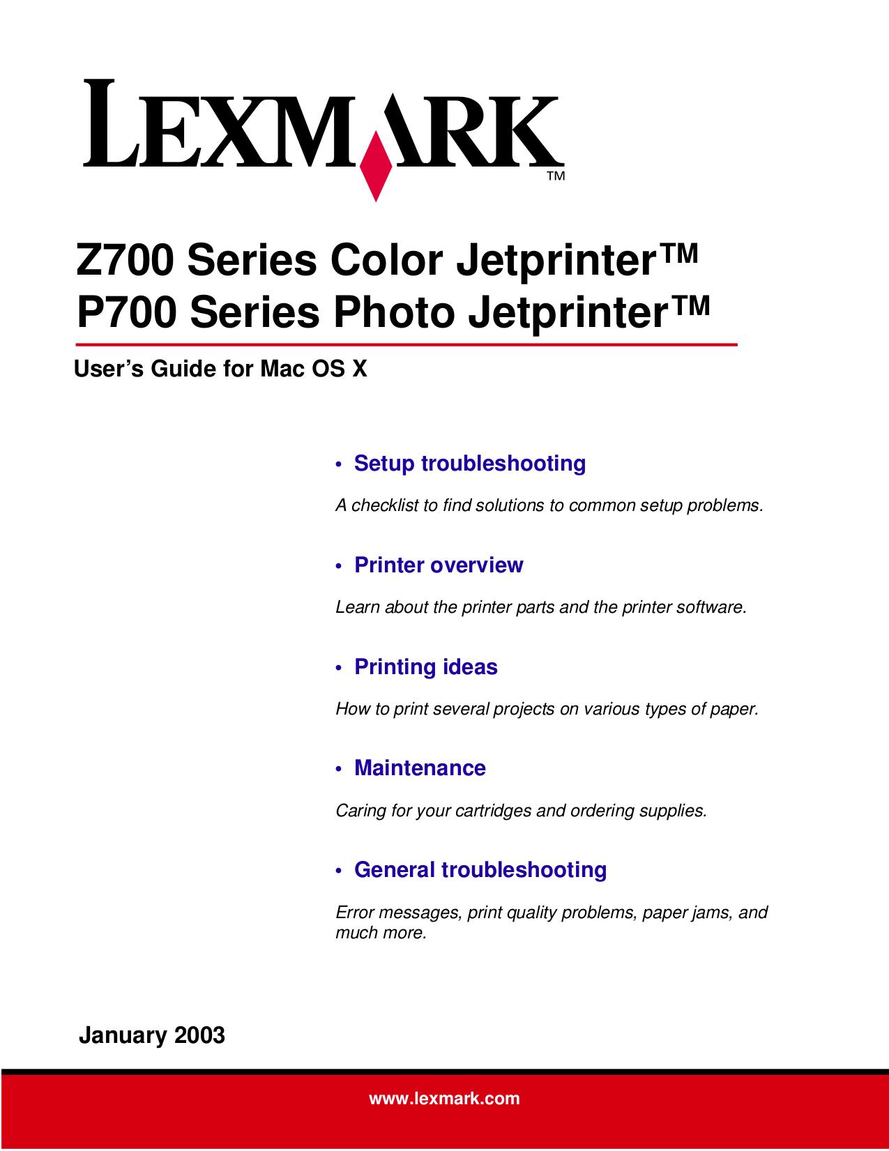 pdf for Lexmark Printer P700 manual