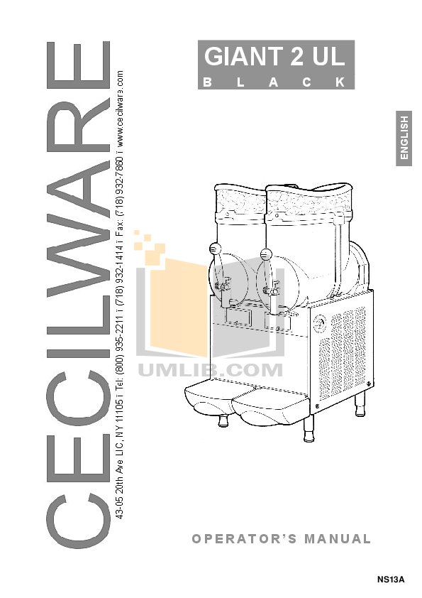 pdf for Cecilware Other Giant 2-UL Dispensers manual