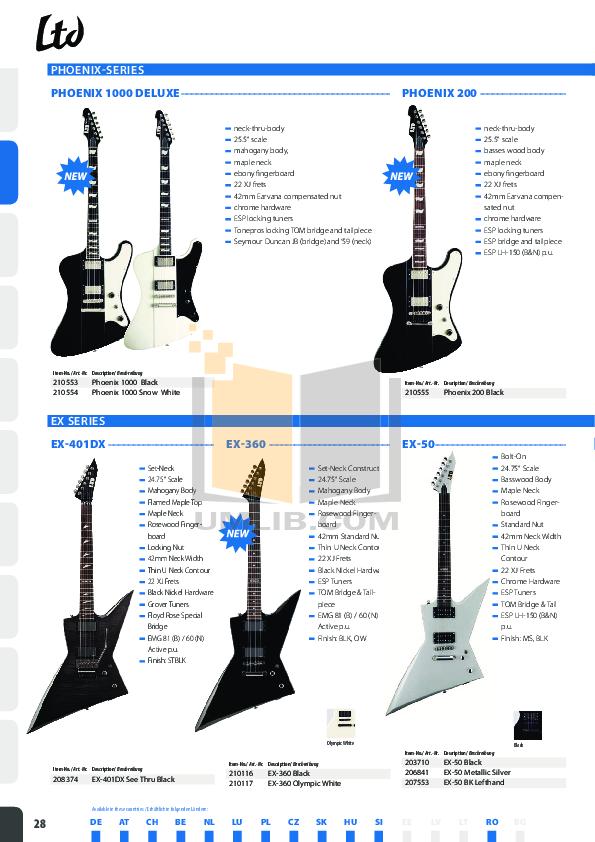 ESP Guitar V-401FM pdf page preview