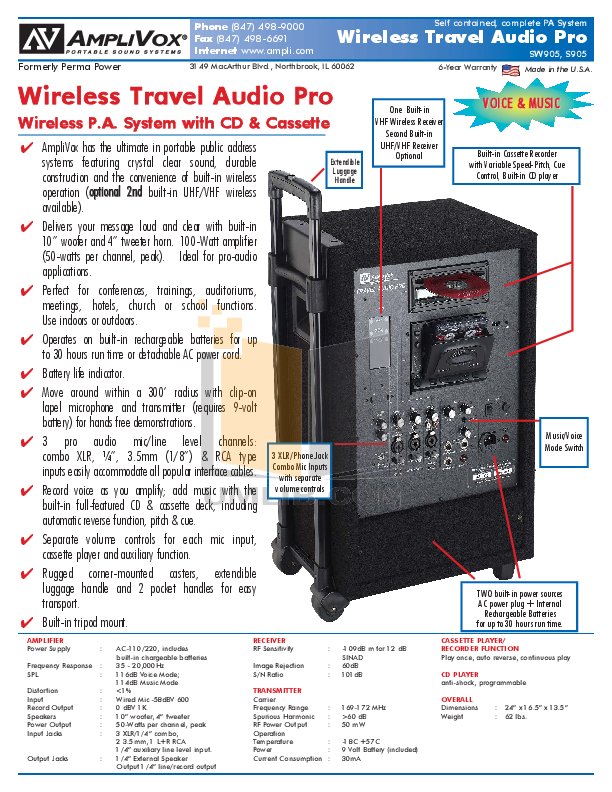 pdf for Amplivox Speaker S1294 manual