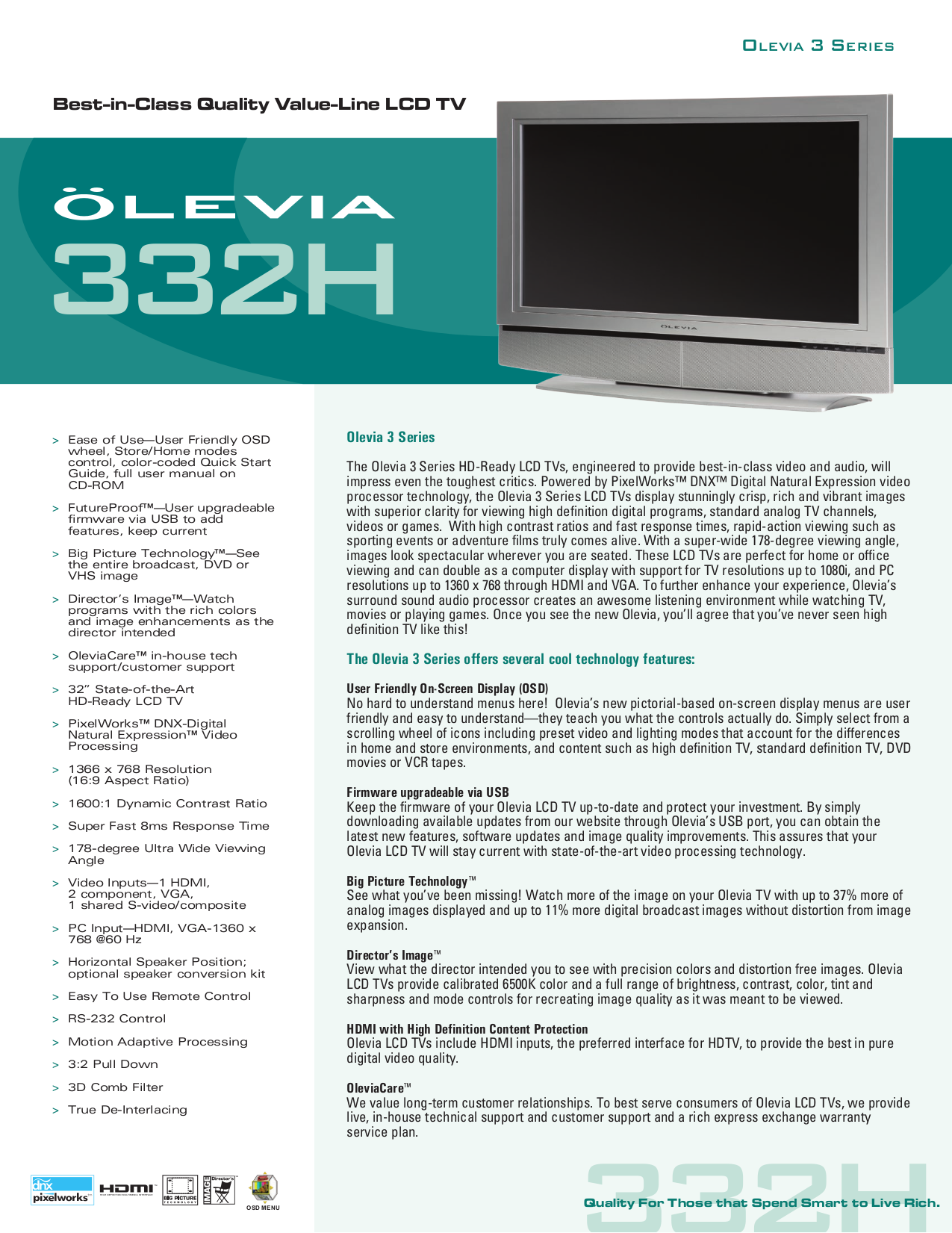 pdf for Olevia Monitor 332H manual