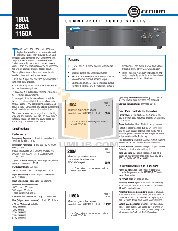 pdf for Crown Other 1-VCAP Volume Controller manual