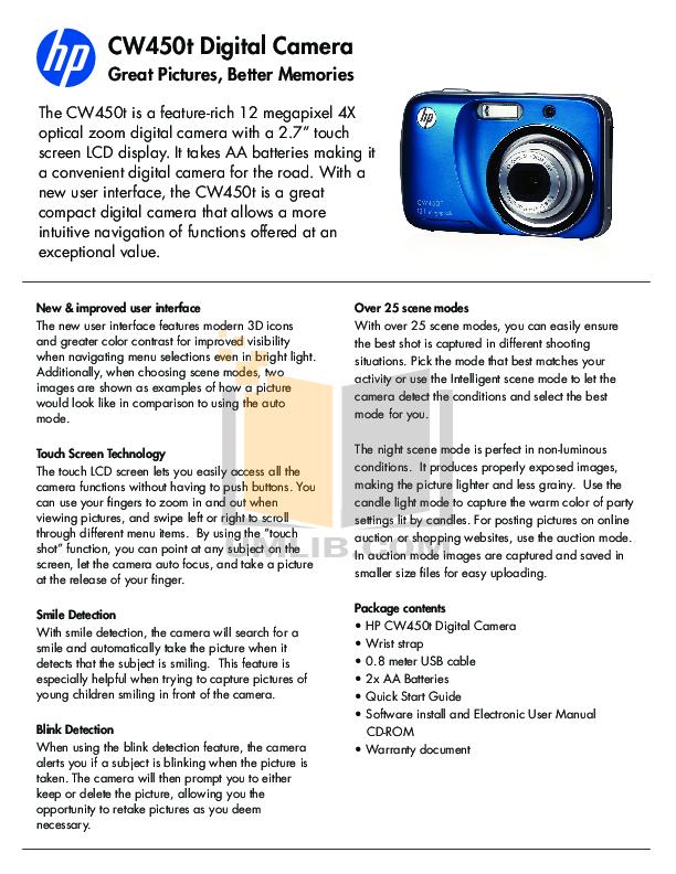 pdf for HP Digital Camera CW450t manual