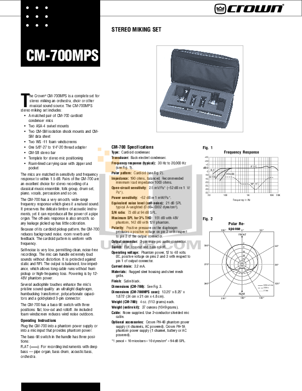 pdf for Crown Other CM-700 Microphones manual
