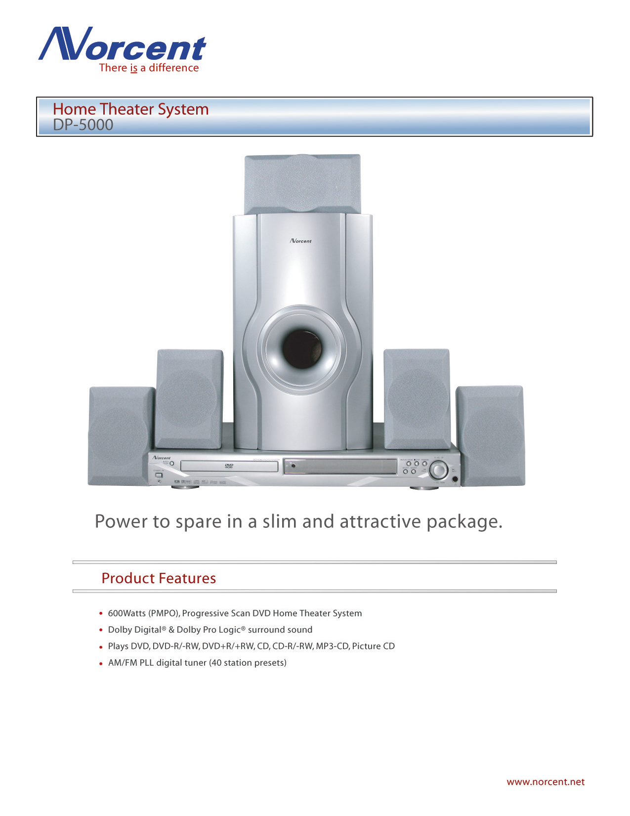 pdf for Norcent Home Theater DP5000 manual