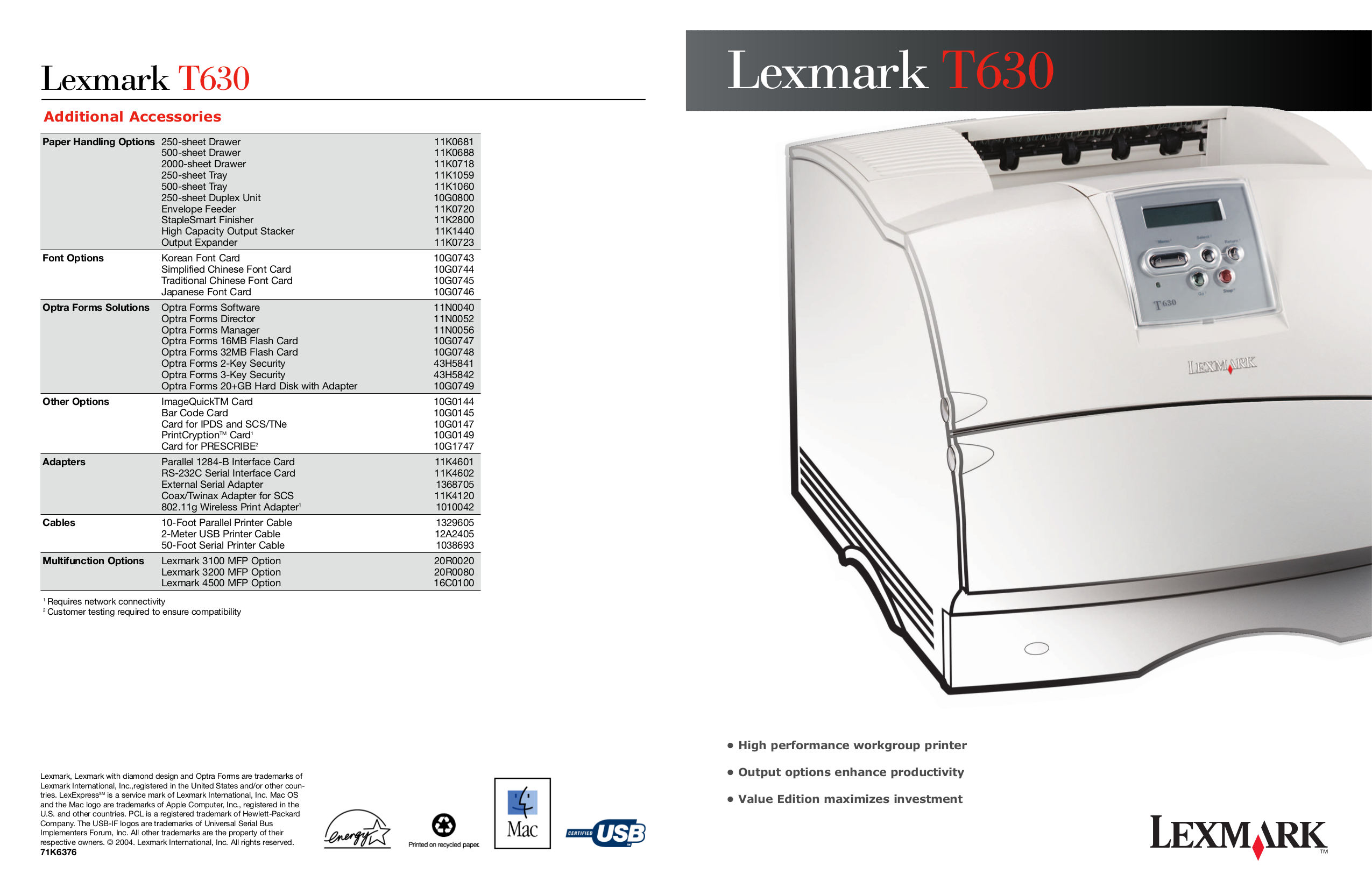 pdf for Lexmark Printer T630 VE manual