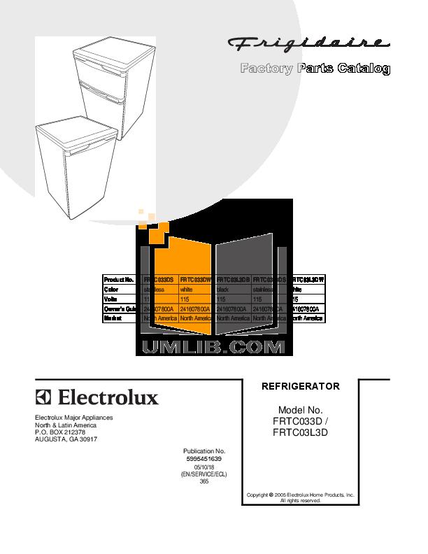 pdf for Frigidaire Refrigerator FRTC03L3DW manual