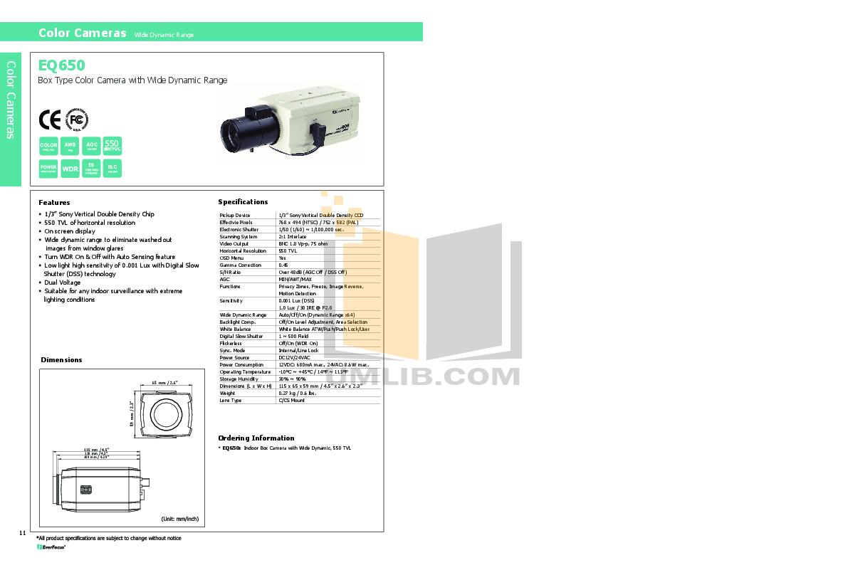 pdf for EverFocus Security Camera EQ650 manual