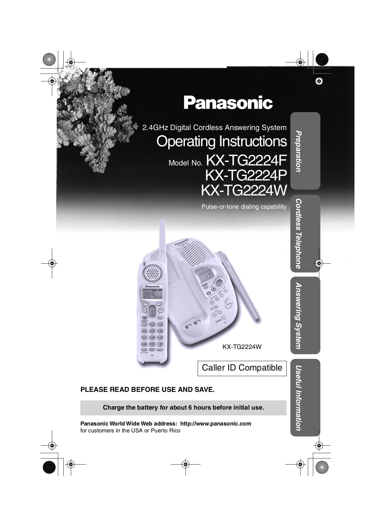 download free pdf for panasonic kx tg2224w telephone manual rh umlib com Panasonic Kx Phone Manual Panasonic Kx 390 B Manual