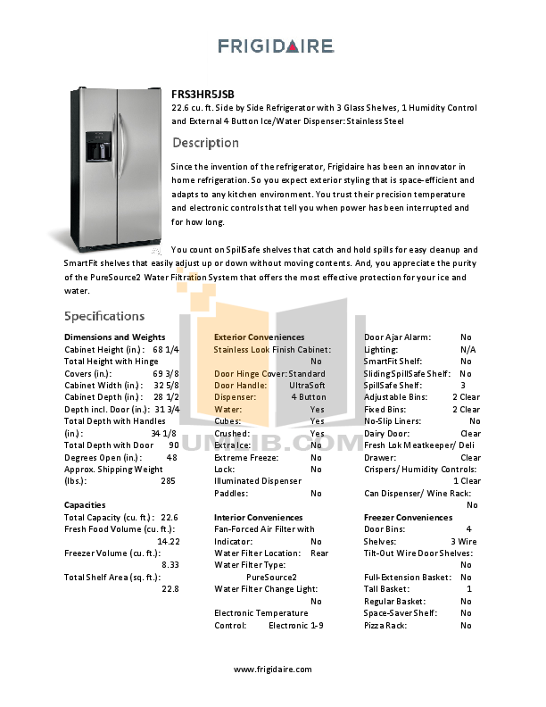 pdf for Frigidaire Refrigerator FRS3HR5JSB manual