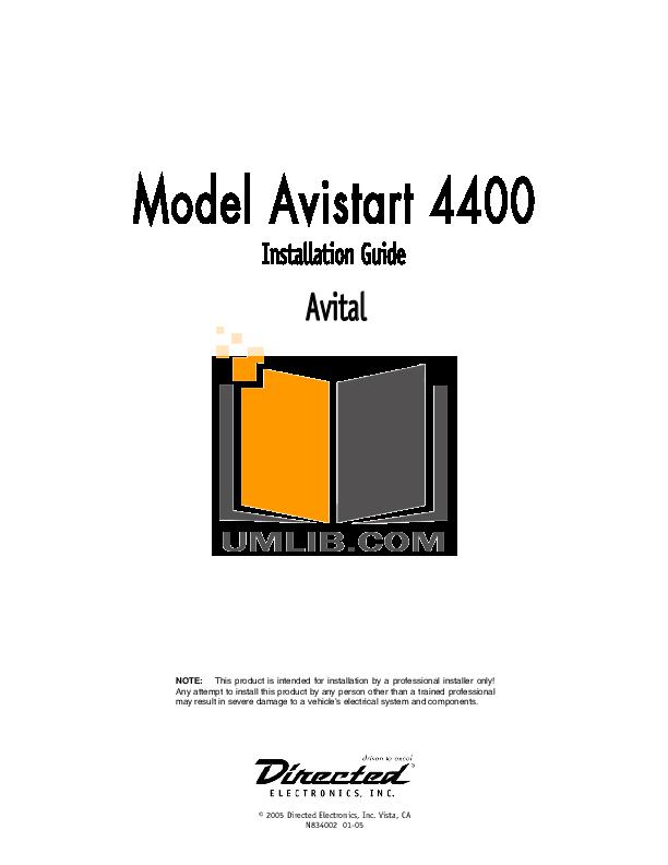 download free pdf for dei avital avistart 4400 car alarms other manual rh umlib com Avital 4113 Avital Remote Starter Troubleshooting
