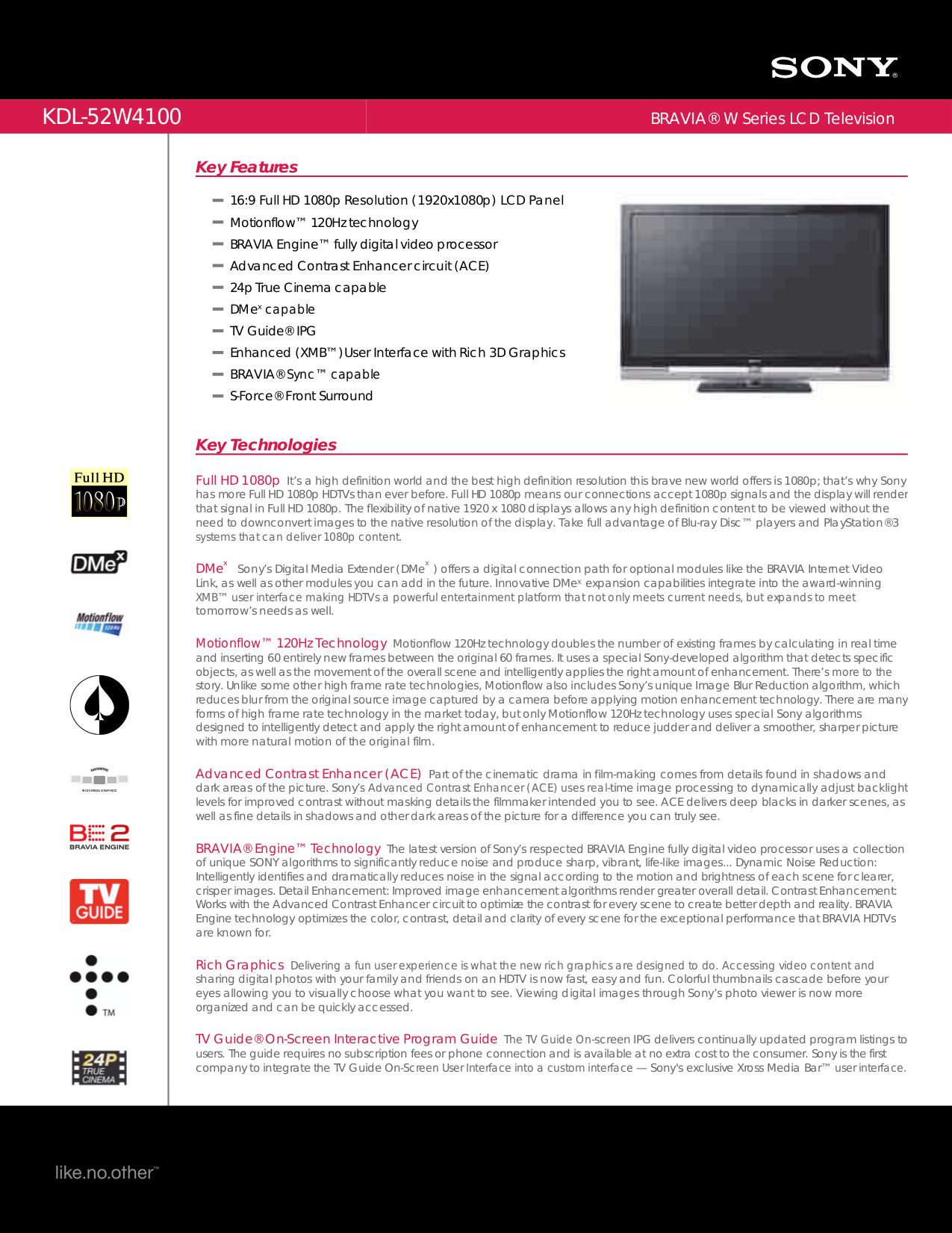 download free pdf for sony bravia kdl 52w4100 tv manual rh umlib com sony kdl-52w4100 manual Sony KDL 52W4100 Manual