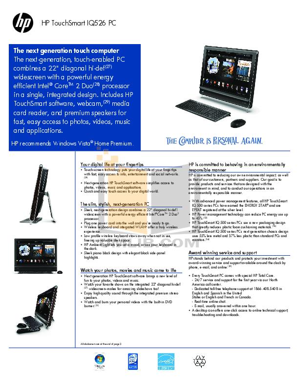Download free pdf for HP TouchSmart IQ526 Desktop manual