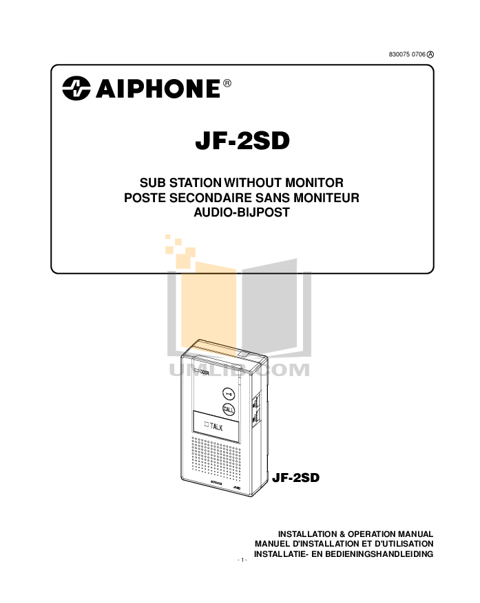 pdf for Aiphone Other JF-2SD Intercoms manual