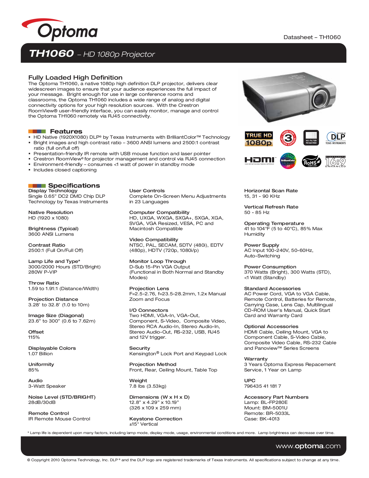 pdf for Optoma Projector TH1060 manual