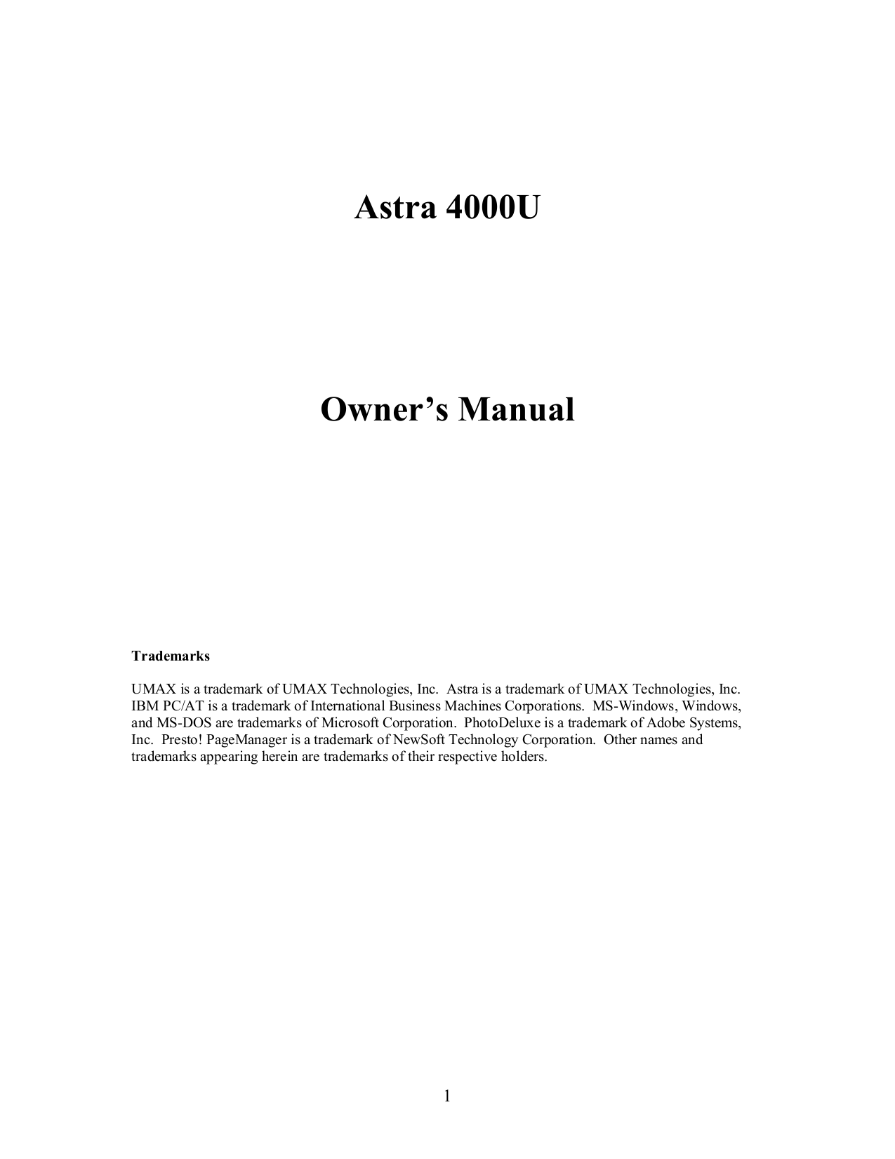 pdf for Umax Scanner Astra 4000U manual