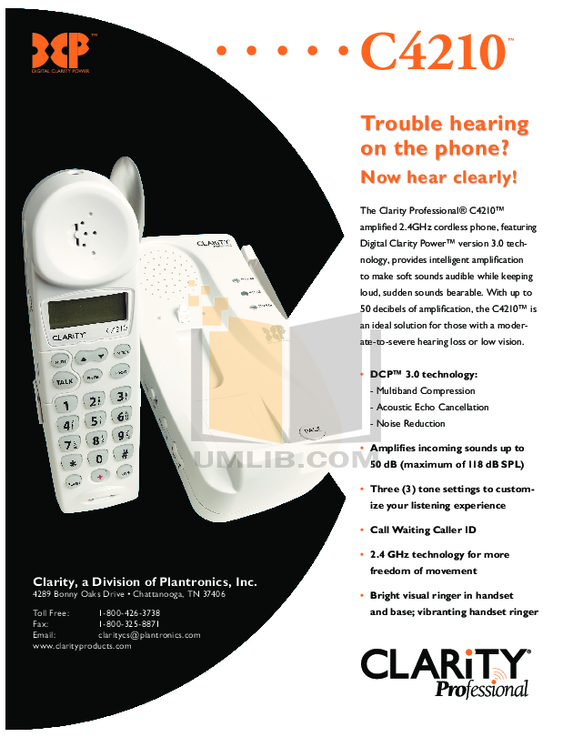 pdf for Clarity Telephone C4210 manual