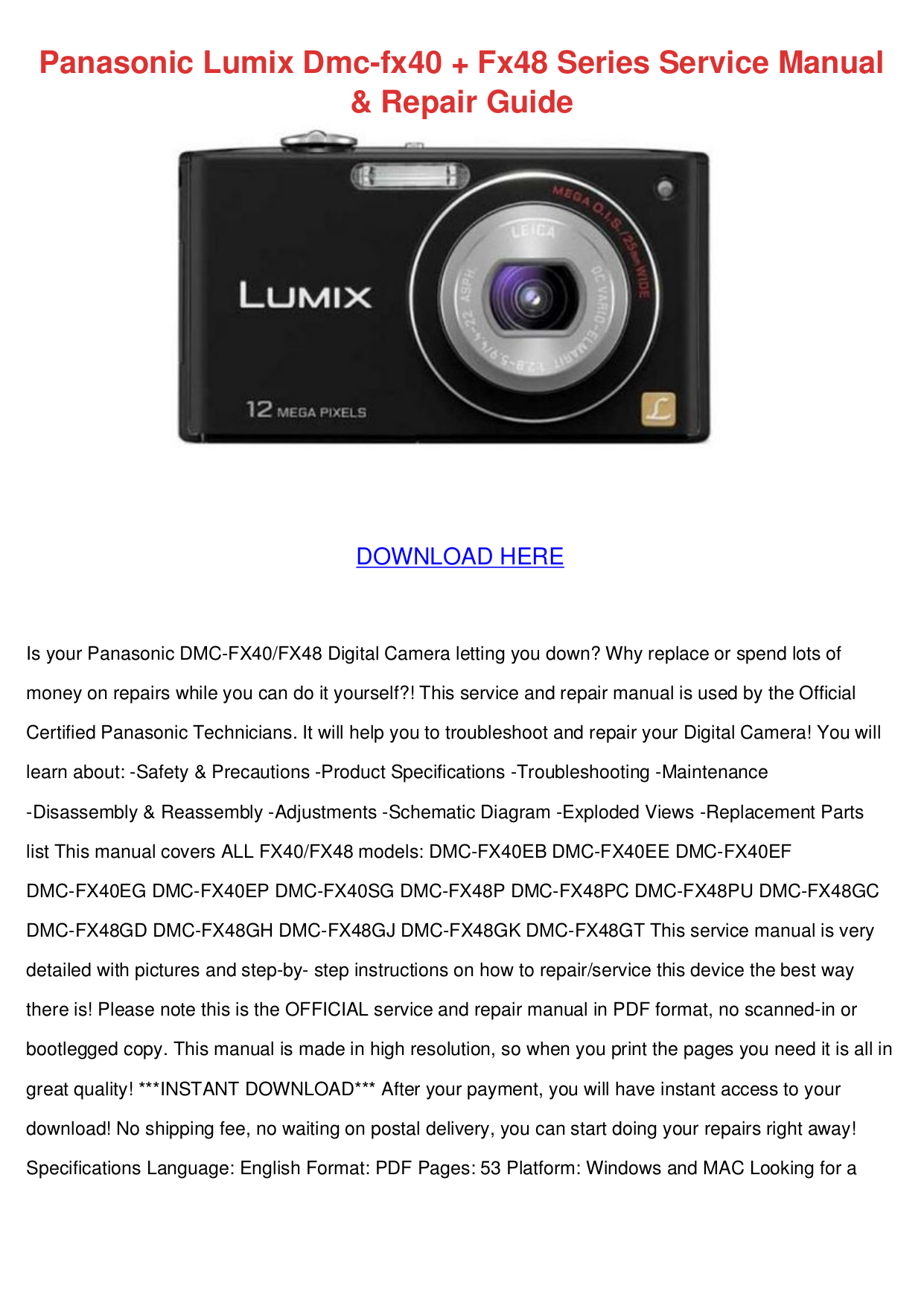 Panasonic Digital Camera Lumix DMC-FX48 pdf page preview ...
