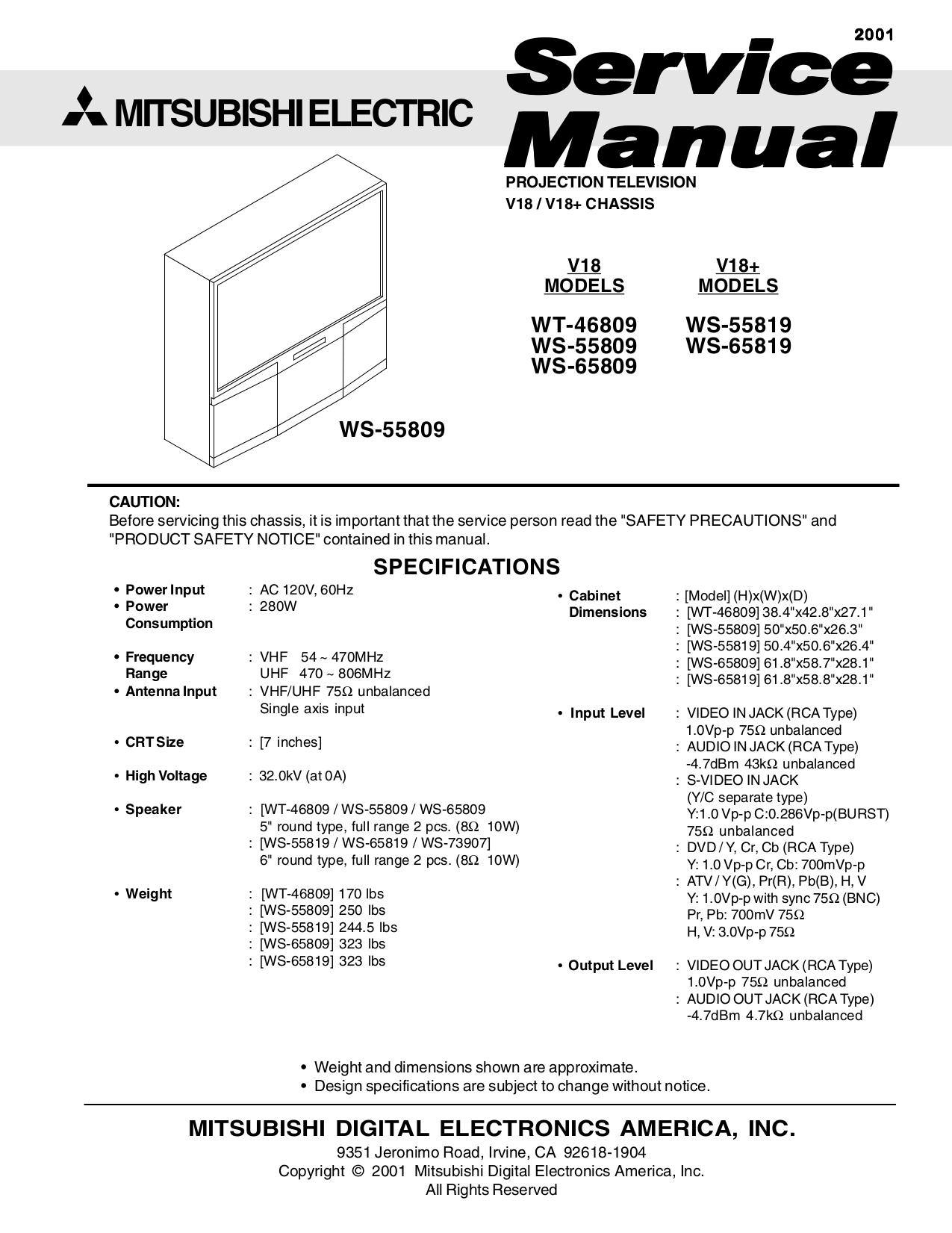 pdf for Mitsubishi TV WS-65809 manual