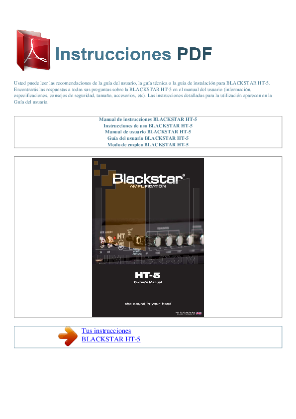 pdf for Blackstar Amp HT-5 manual