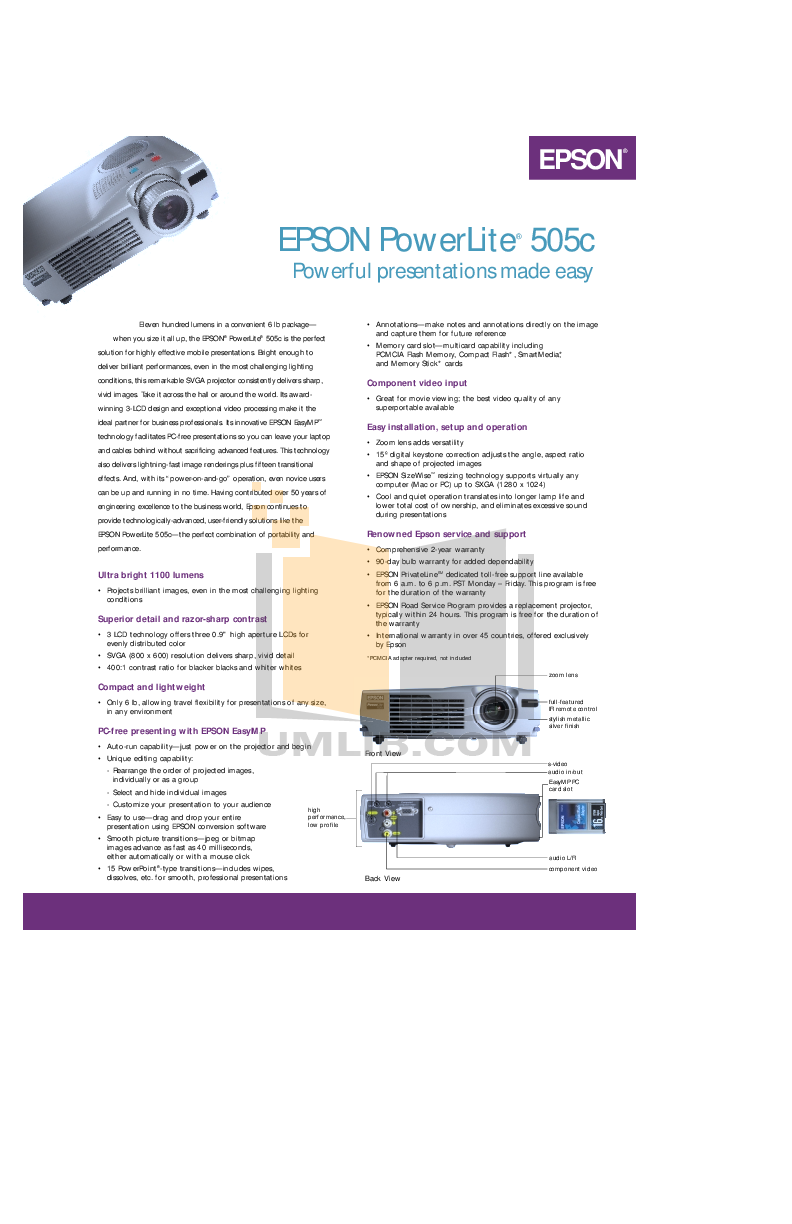 pdf for Epson Projector PowerLite 505c manual