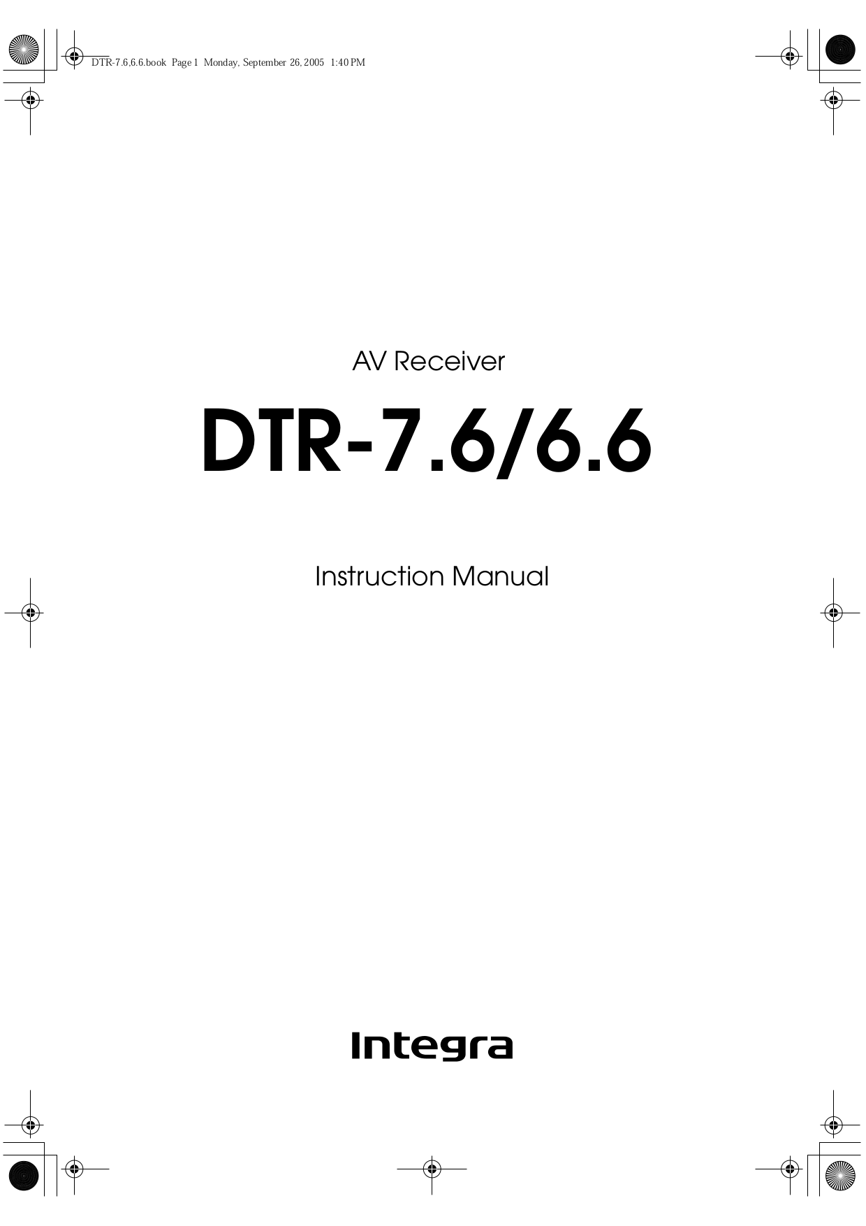 pdf for Integra Receiver DTR-6.6 manual