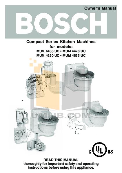 pdf for Bosch Food Processor MUM4420UC manual