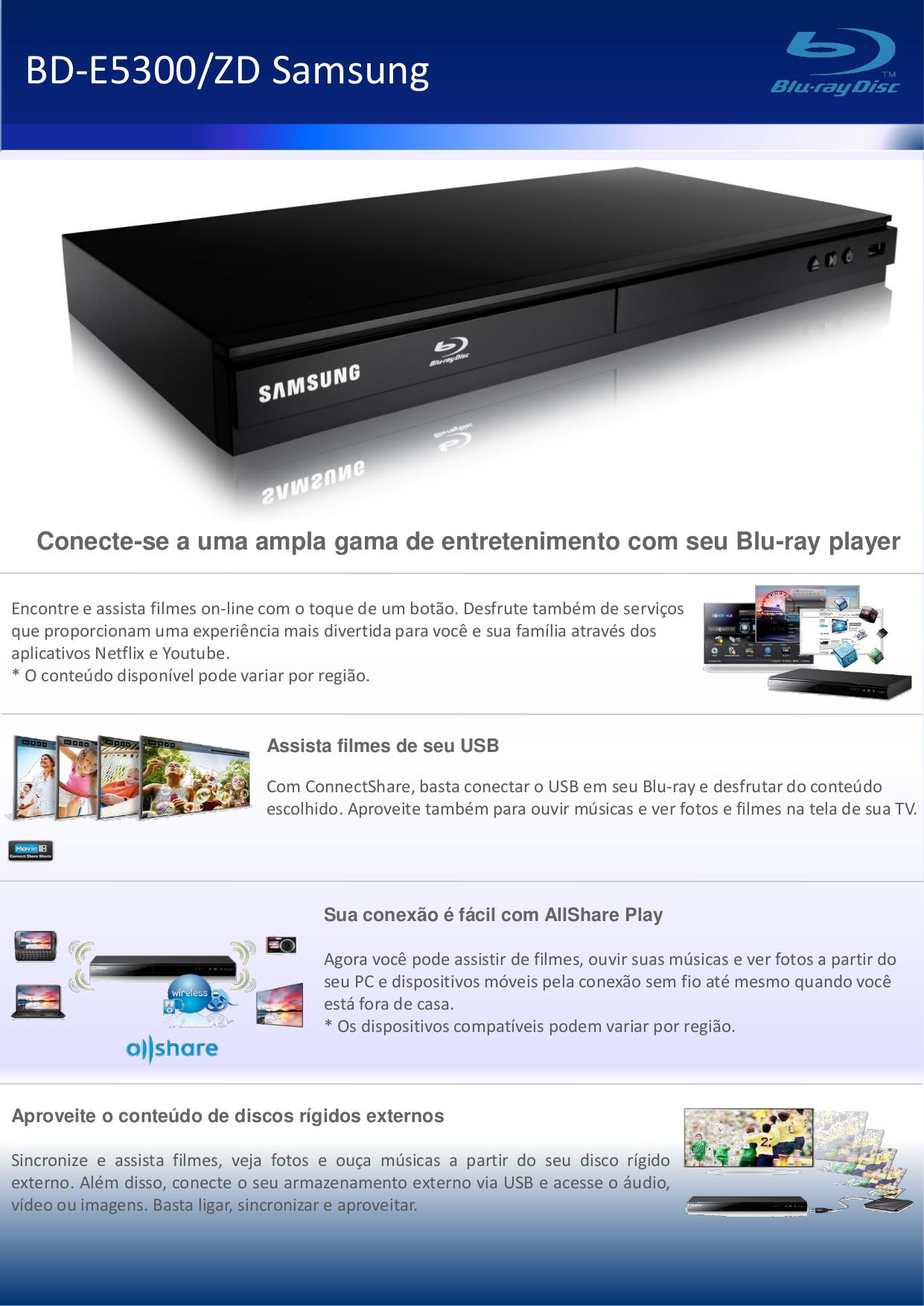 pdf for Samsung DVD Players BD-E5300 manual