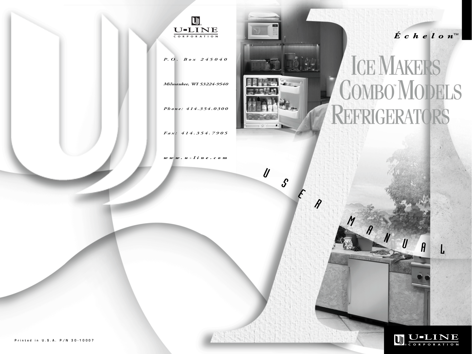 pdf for U-Line Refrigerator Echelon 2075RF manual