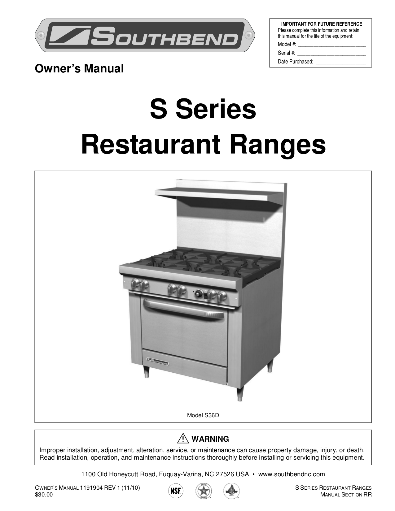 pdf for Southbend Other S-36 Broilers manual