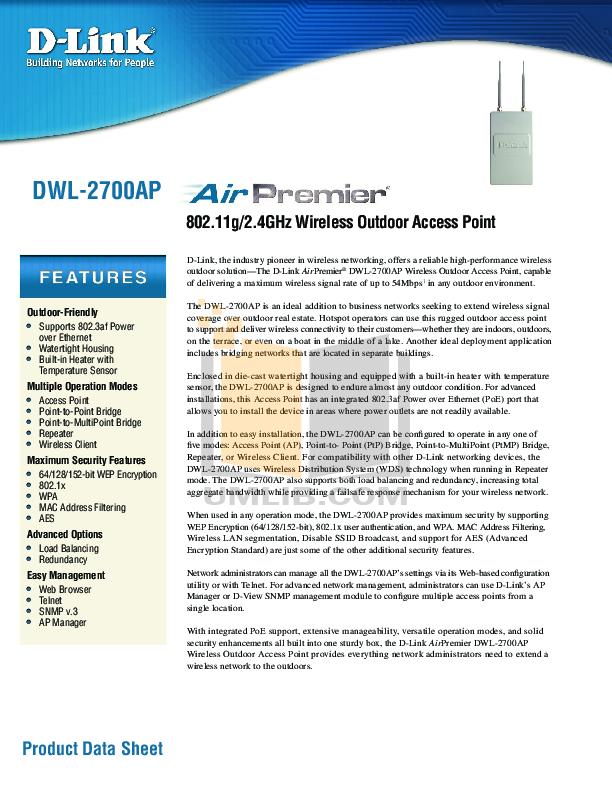 pdf for D-link Other DWL-2700AP manual